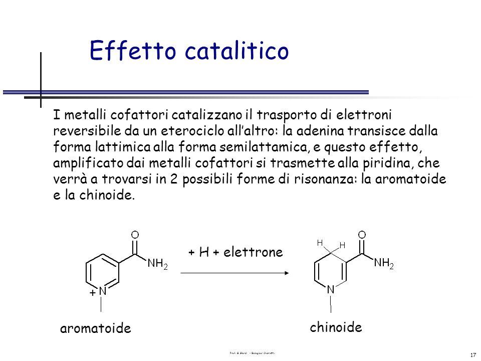 Prof. G. Gilardi - Biological Chemistry 17 Effetto catalitico I metalli cofattori catalizzano il trasporto di elettroni reversibile da un eterociclo a