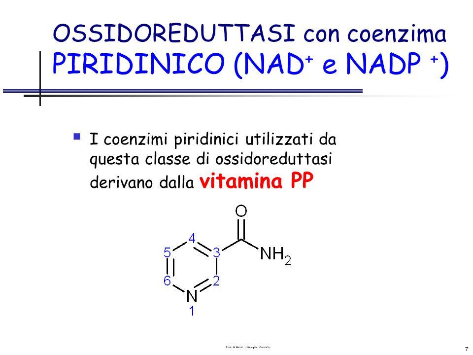 Prof. G. Gilardi - Biological Chemistry 7 OSSIDOREDUTTASI con coenzima PIRIDINICO (NAD + e NADP + ) I coenzimi piridinici utilizzati da questa classe