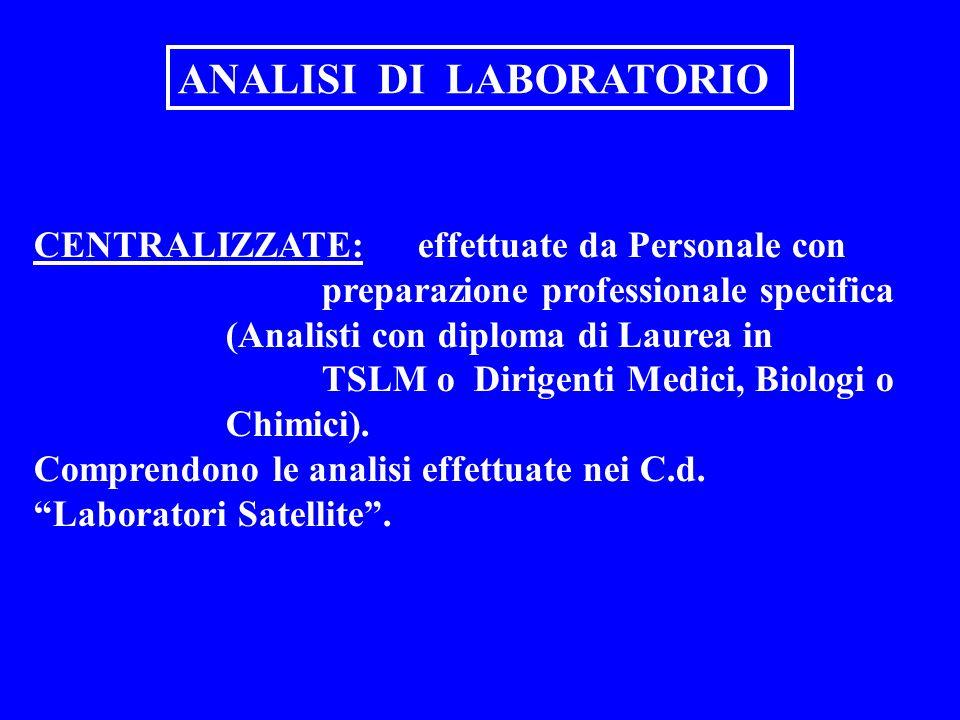 ANALISI DI LABORATORIO CENTRALIZZATE: effettuate da Personale con preparazione professionale specifica (Analisti con diploma di Laurea in TSLM o Dirig