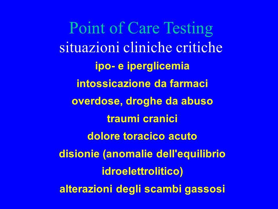 Point of Care Testing situazioni cliniche critiche ipo- e iperglicemia intossicazione da farmaci overdose, droghe da abuso traumi cranici dolore torac