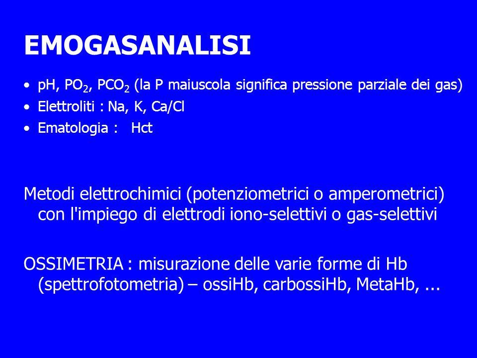 EMOGASANALISI pH, PO 2, PCO 2 (la P maiuscola significa pressione parziale dei gas) Elettroliti :Na, K, Ca/Cl Ematologia :Hct Metodi elettrochimici (potenziometrici o amperometrici) con l impiego di elettrodi iono-selettivi o gas-selettivi OSSIMETRIA : misurazione delle varie forme di Hb (spettrofotometria) – ossiHb, carbossiHb, MetaHb,...