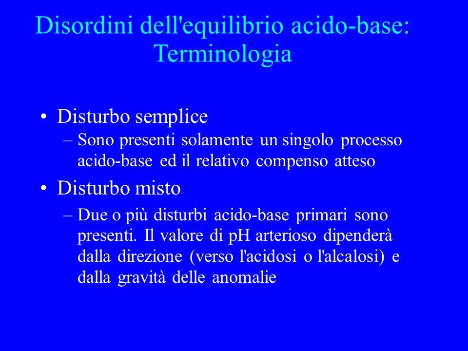 Disturbo semplice –Sono presenti solamente un singolo processo acido-base ed il relativo compenso atteso Disturbo misto –Due o più disturbi acido-base primari sono presenti.
