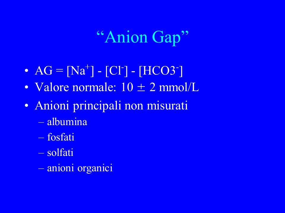Anion Gap AG = [Na + ] - [Cl - ] - [HCO3 - ] Valore normale: 10 ± 2 mmol/L Anioni principali non misurati –albumina –fosfati –solfati –anioni organici