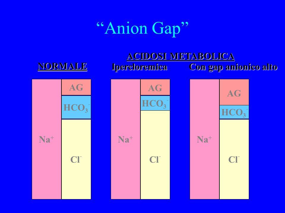 Anion Gap Na + Cl - HCO 3 - AG Na + Cl - HCO 3 - AG Na + Cl - HCO 3 - AG NORMALE Ipercloremica Con gap anionico alto ACIDOSI METABOLICA