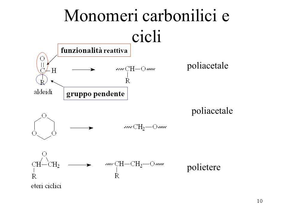 10 Monomeri carbonilici e cicli funzionalità reattiva gruppo pendente poliacetale polietere poliacetale