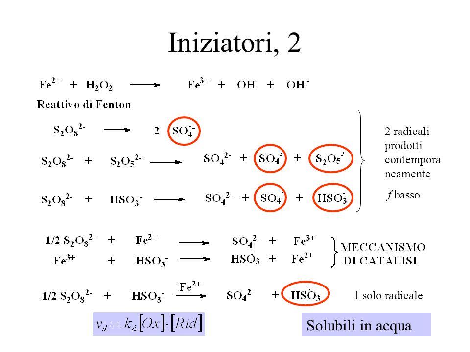 13 Iniziatori, 2 Solubili in acqua 2 radicali prodotti contempora neamente f basso 1 solo radicale