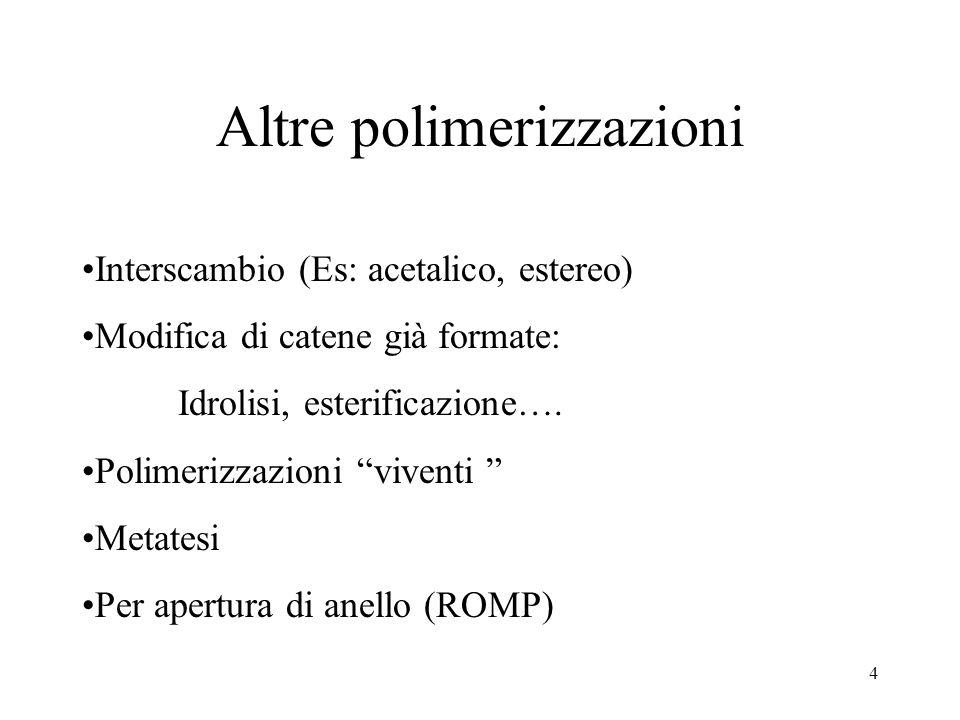 4 Altre polimerizzazioni Interscambio (Es: acetalico, estereo) Modifica di catene già formate: Idrolisi, esterificazione…. Polimerizzazioni viventi Me