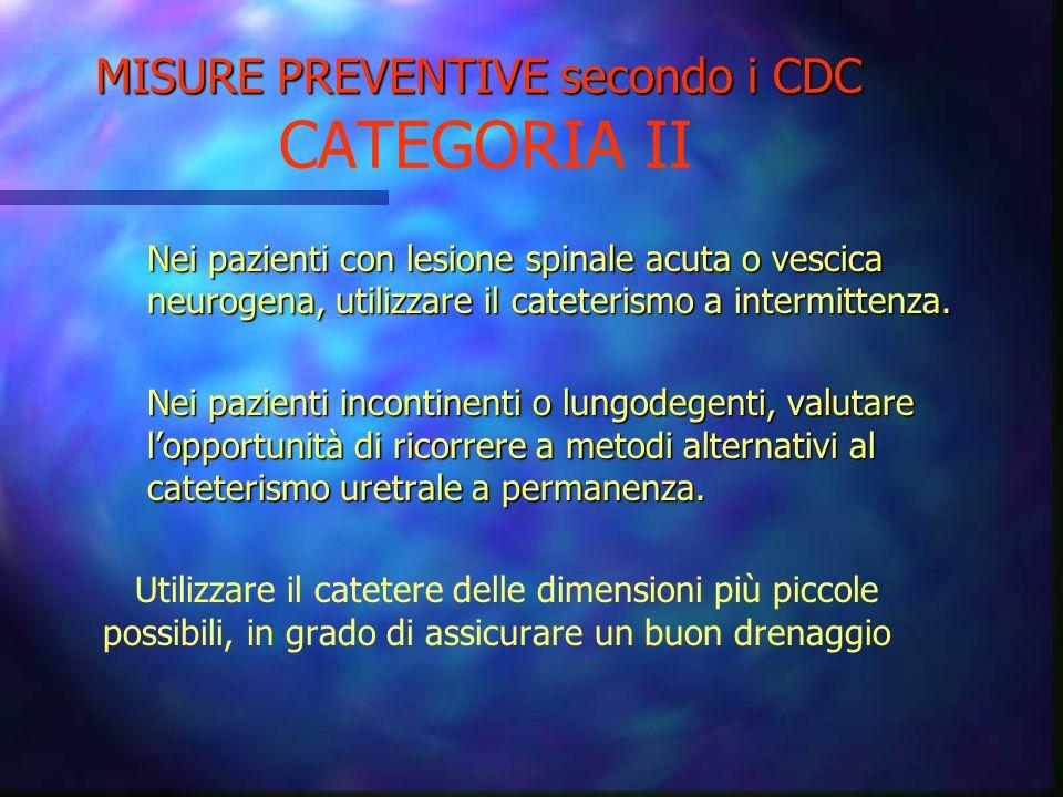 MISURE PREVENTIVE secondo i CDC MISURE PREVENTIVE secondo i CDC CATEGORIA II Svuotare la sacca di drenaggio adottando le seguenti precauzioni: -lavars