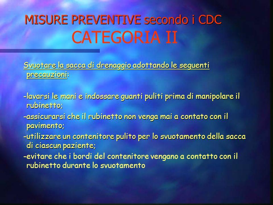MISURE PREVENTIVE secondo i CDC MISURE PREVENTIVE secondo i CDC CATEGORIA II Aggiornare periodicamente il personale sulle tecniche di inserzione e ges