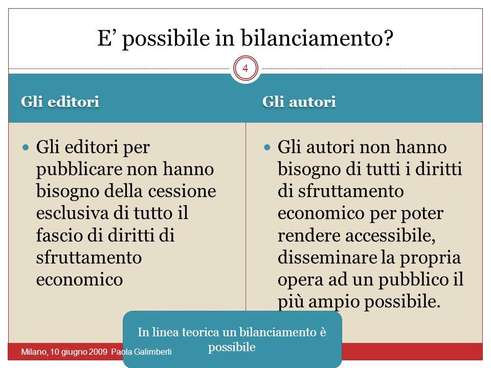 Gli editori Gli autori Gli editori per pubblicare non hanno bisogno della cessione esclusiva di tutto il fascio di diritti di sfruttamento economico G