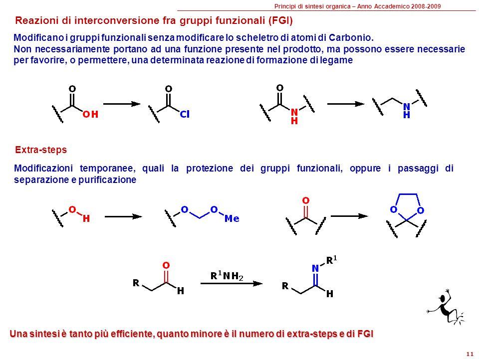Principi di sintesi organica – Anno Accademico 2008-2009 11 Reazioni di interconversione fra gruppi funzionali (FGI) Modificano i gruppi funzionali senza modificare lo scheletro di atomi di Carbonio.