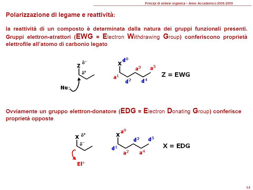 Principi di sintesi organica – Anno Accademico 2008-2009 12 Polarizzazione di legame e reattività : la reattività di un composto è determinata dalla natura dei gruppi funzionali presenti.