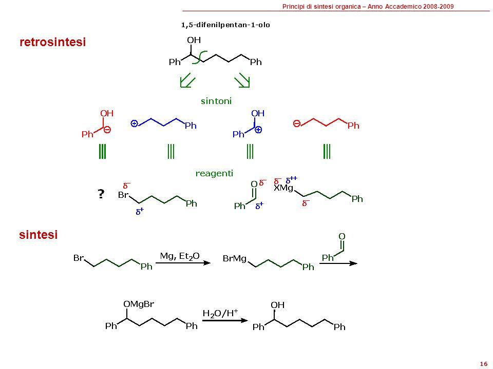 Principi di sintesi organica – Anno Accademico 2008-2009 16 retrosintesi sintesi