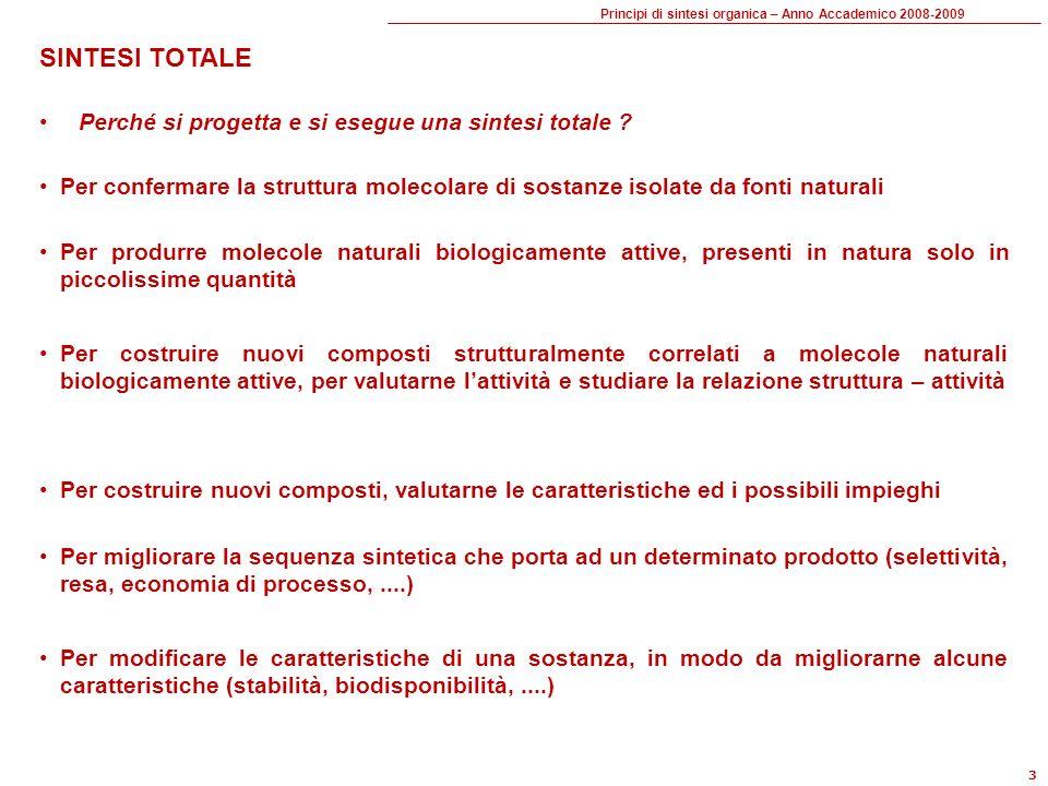 Principi di sintesi organica – Anno Accademico 2008-2009 14 UMPOLUNG se un composto (TM) presenta una distanza pari fra i gruppi funzionali .
