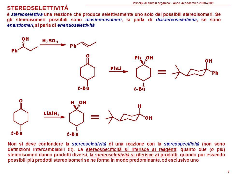 Principi di sintesi organica – Anno Accademico 2008-2009 10 Una sequenza sintetica si può comporre di: Reazioni di formazione di legame Reazioni di interconversione fra gruppi funzionali (Functional Group Interconversion = FGI) Extra-steps Reazioni di formazione di legame formazione ciclizzazione anellazione riconnessione