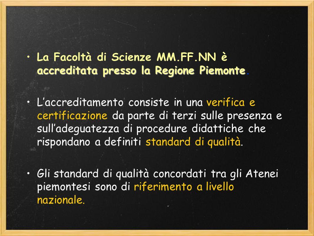 accreditata presso la Regione PiemonteLa Facoltà di Scienze MM.FF.NN è accreditata presso la Regione Piemonte. Laccreditamento consiste in una verific