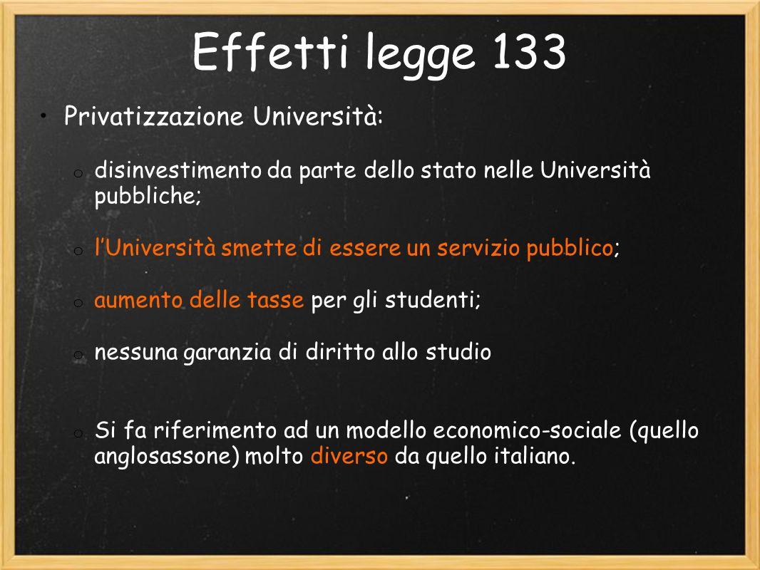 Effetti legge 133 Privatizzazione Università: o disinvestimento da parte dello stato nelle Università pubbliche; o lUniversità smette di essere un servizio pubblico; o aumento delle tasse per gli studenti; o nessuna garanzia di diritto allo studio o Si fa riferimento ad un modello economico-sociale (quello anglosassone) molto diverso da quello italiano.
