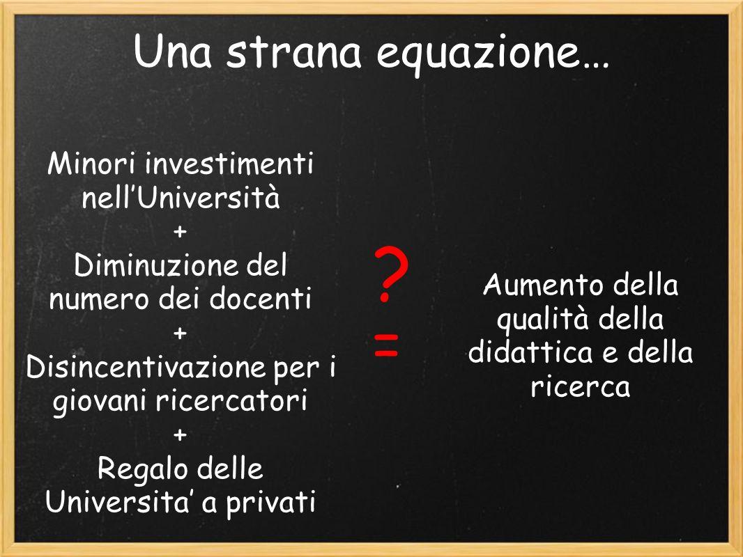 Una strana equazione… Minori investimenti nellUniversità + Diminuzione del numero dei docenti + Disincentivazione per i giovani ricercatori + Regalo delle Universita a privati = Aumento della qualità della didattica e della ricerca ?
