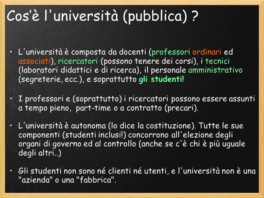 Effetti legge 133 Riduzione FFO.: alcuni dati (http://statistica.miur.it/Data/uic2007/Le_Risorse.pdf)http://statistica.miur.it/Data/uic2007/Le_Risorse.pdf La spesa pubblica per lUniversità (anno 2005) è lo 0.75% del PIL (agli ultimi posti in Europa) In Italia, la tassa di iscrizione media e di 700 euro (ateneo pubblico) 2400 euro (ateneo privato)