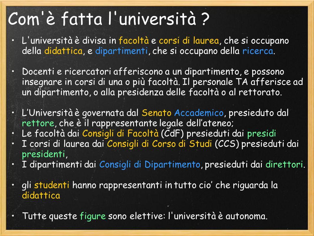Com'è fatta l'università ? L'università è divisa in facoltà e corsi di laurea, che si occupano della didattica, e dipartimenti, che si occupano della