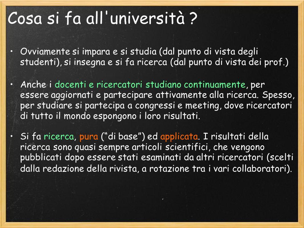 Cosa si fa all'università ? Ovviamente si impara e si studia (dal punto di vista degli studenti), si insegna e si fa ricerca (dal punto di vista dei p