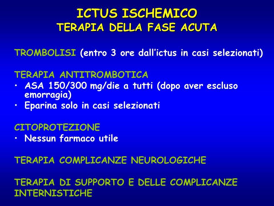 ICTUS ISCHEMICO TERAPIA DELLA FASE ACUTA TROMBOLISI (entro 3 ore dallictus in casi selezionati) TERAPIA ANTITROMBOTICA ASA 150/300 mg/die a tutti (dop