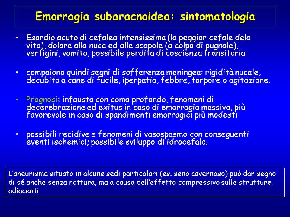 Emorragia subaracnoidea: sintomatologia Esordio acuto di cefalea intensissima (la peggior cefale dela vita), dolore alla nuca ed alle scapole (a colpo