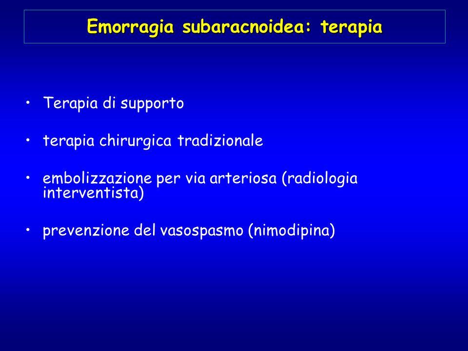 Emorragia subaracnoidea: terapia Terapia di supporto terapia chirurgica tradizionale embolizzazione per via arteriosa (radiologia interventista) preve