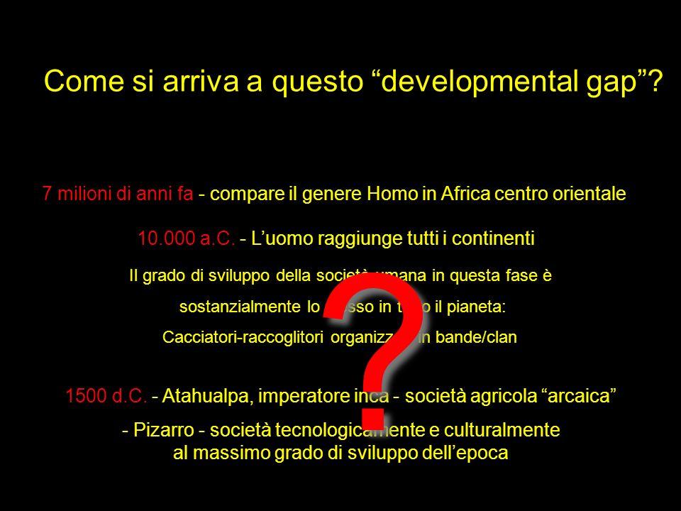 Come si arriva a questo developmental gap? 7 milioni di anni fa - compare il genere Homo in Africa centro orientale 10.000 a.C. - Luomo raggiunge tutt