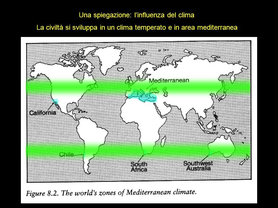 Altre spiegazioni La civiltà si sviluppa in valli fluviali soggette a piene stagionali Il mediterraneo e le sue molte isole favoriscono lo sviluppo progressivo della navigazione Eccetera eccetera… E tutto vero, ma… … ci sono cause più profonde