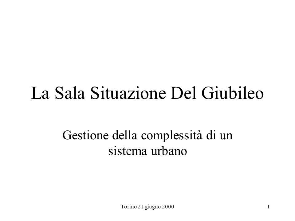 Torino 21 giugno 20001 La Sala Situazione Del Giubileo Gestione della complessità di un sistema urbano