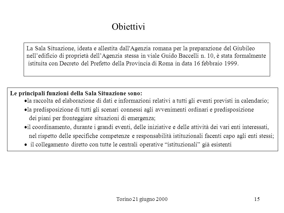 Torino 21 giugno 200015 Obiettivi La Sala Situazione, ideata e allestita dall'Agenzia romana per la preparazione del Giubileo nelledificio di propriet