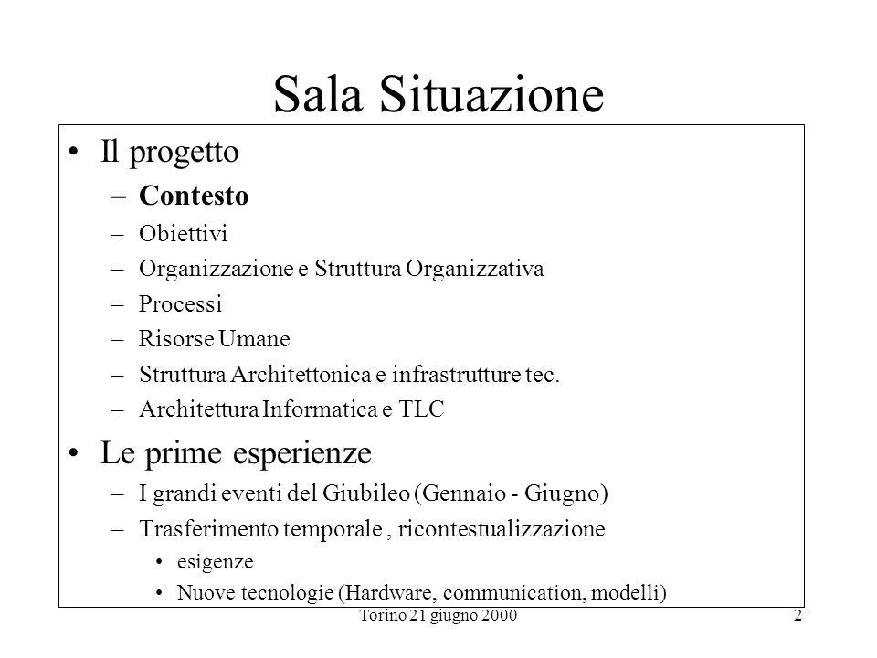Torino 21 giugno 20002 Sala Situazione Il progetto –Contesto –Obiettivi –Organizzazione e Struttura Organizzativa –Processi –Risorse Umane –Struttura