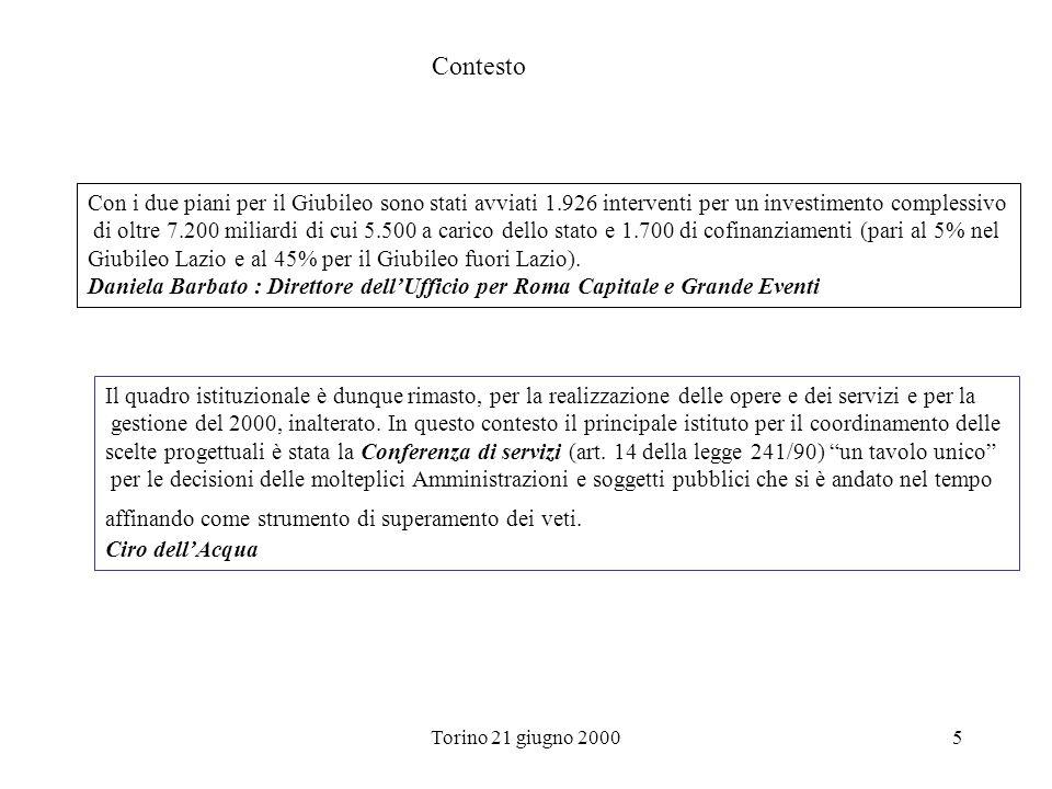 Torino 21 giugno 20005 Con i due piani per il Giubileo sono stati avviati 1.926 interventi per un investimento complessivo di oltre 7.200 miliardi di