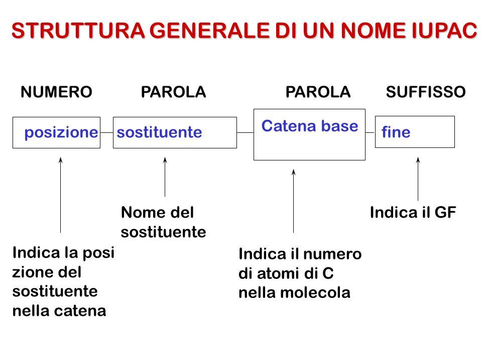 posizionesostituente Catena base fine Nome del sostituente Indica il numero di atomi di C nella molecola Indica il GF Indica la posi zione del sostitu