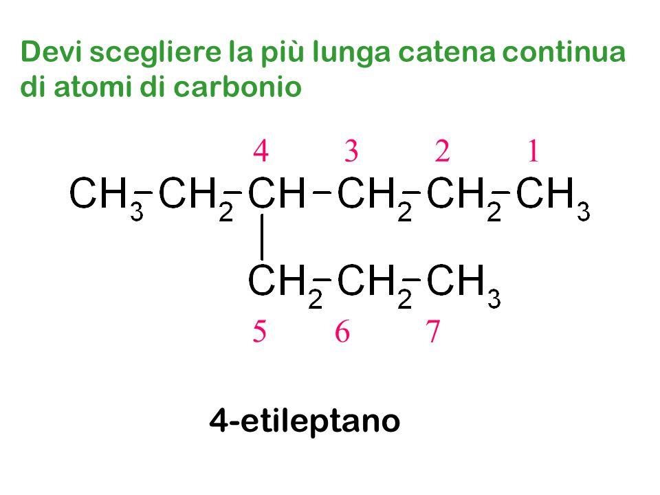 Devi scegliere la più lunga catena continua di atomi di carbonio 4 3 2 1 5 6 7 4-etileptano