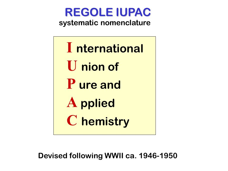 I nternational U nion of P ure and A pplied C hemistry REGOLE IUPAC systematic nomenclature Devised following WWII ca. 1946-1950