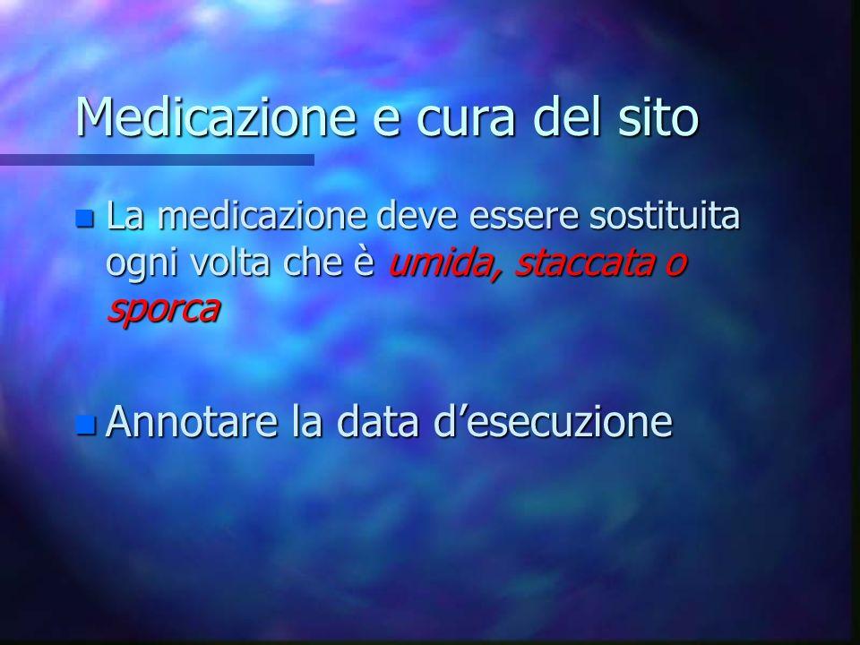 Medicazione e cura del sito DEL D.I. n Ispezionare quotidianamente il sito dinserzione della cannula e delleventuale decorso sottocutaneo. n Segni e s