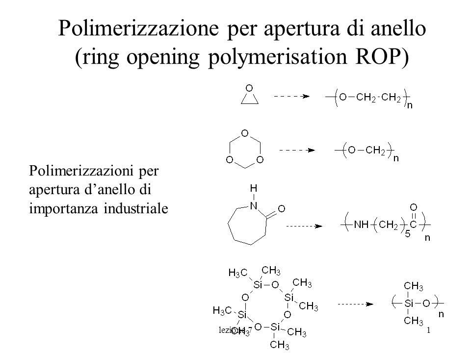 lezione 72 Polimerizzabilità n H (kJ/mol) S (kJ/mol °K) G (kJ/mol) (25°C) 3-113.0-69.1-92.5 4-105.1-55.3-90.0 5-21.2-42.7-9.2 6+2.9-10.5+5.9 7-21.8-15.9-16.3 8-34.8-3.3-34.3 dipende dalla stabilità relativa del monomero ciclico e del polimero (lineare) 3,4>8>5,7 I cicli a 6 in genere polimerizzano con difficoltà
