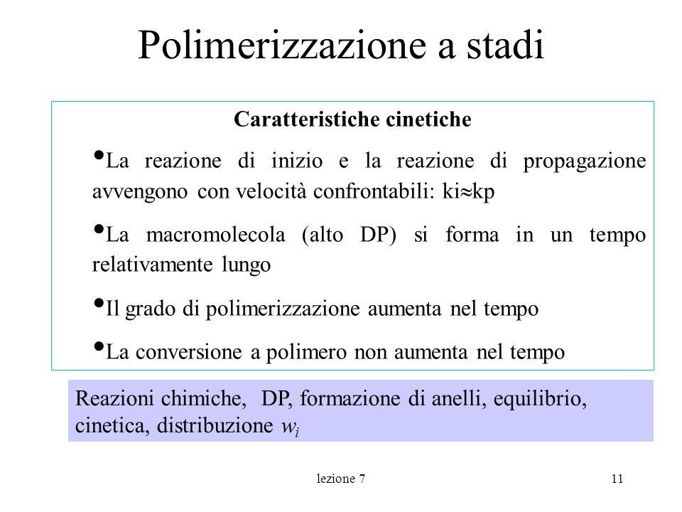 lezione 711 Polimerizzazione a stadi Caratteristiche cinetiche La reazione di inizio e la reazione di propagazione avvengono con velocità confrontabil