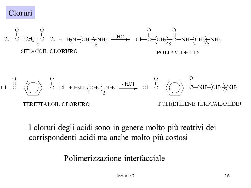 lezione 716 I cloruri degli acidi sono in genere molto più reattivi dei corrispondenti acidi ma anche molto più costosi Polimerizzazione interfacciale