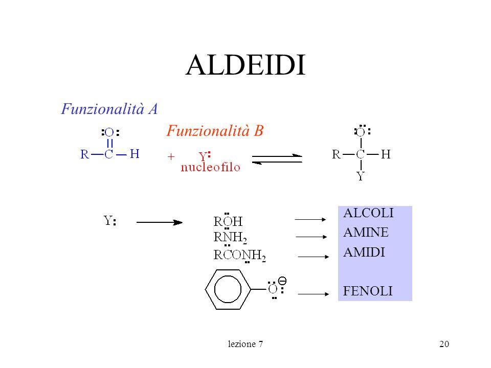 lezione 720 ALDEIDI ALCOLI AMINE AMIDI FENOLI Funzionalità A Funzionalità B