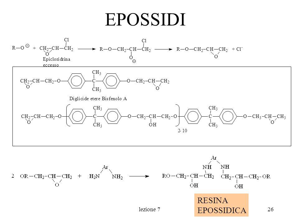 lezione 726 EPOSSIDI RESINA EPOSSIDICA + CH 2 CHCH 2 Cl O Epicloridrina eccesso CH 2 CHCH 2 Cl O ORCH 2 CHCH 2 O OR RO + Cl - CH 2 CHCH 2 OC CH 3 CH 3