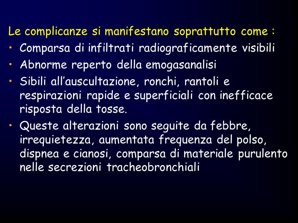 Atelettasia acuta -dispnea e cianosi, tachicardia, rumori respiratori diminuiti o assenti, ottusita alla percussione, ridotta espansione toracica, diminuita pressione sanguigna, temperatura aumentata- Mobilizzare il paziente Educarlo a tossire con forza tenendo le mani sulla ferita (per eliminare le secrezioni bronchiali) Ginnastica respiratoria (INCENTIVATORI CHE ESERCITANO LINSPIRAZIONE - PEEP) Percussioni toraciche sullarea atelectasica Broncoaspirazione con sondino nasotracheale Vibrazione Drenaggio posturale La somministrazione supplementare di ossigeno è indicata nel trattamento di pazienti in decorso postoperatorio ogni qualvolta sia documentata una PaO 2 <55 mmHg.
