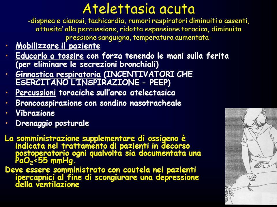 Atelettasia acuta -dispnea e cianosi, tachicardia, rumori respiratori diminuiti o assenti, ottusita alla percussione, ridotta espansione toracica, dim