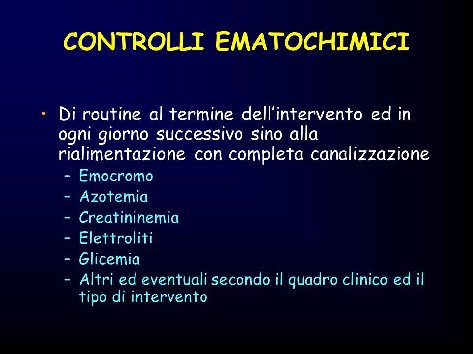 CONTROLLI EMATOCHIMICI Di routine al termine dellintervento ed in ogni giorno successivo sino alla rialimentazione con completa canalizzazione –Emocro