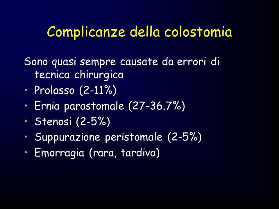 Complicanze della colostomia Sono quasi sempre causate da errori di tecnica chirurgica Prolasso (2-11%) Ernia parastomale (27-36.7%) Stenosi (2-5%) Su