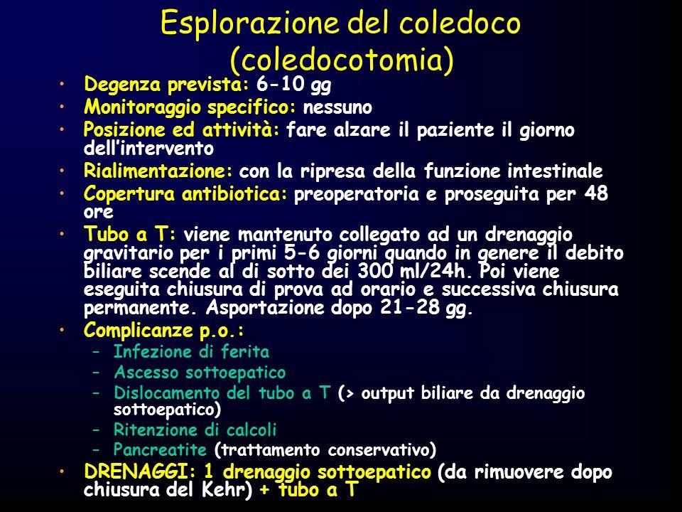 Esplorazione del coledoco (coledocotomia) Degenza prevista: 6-10 gg Monitoraggio specifico: nessuno Posizione ed attività: fare alzare il paziente il