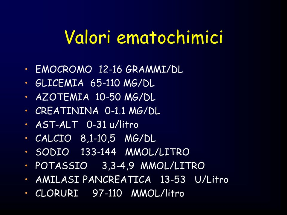 Valori ematochimici EMOCROMO 12-16 GRAMMI/DL GLICEMIA 65-110 MG/DL AZOTEMIA 10-50 MG/DL CREATININA 0-1.1 MG/DL AST-ALT 0-31 u/litro CALCIO 8,1-10,5 MG