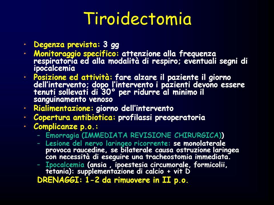Emorroidectomia Degenza prevista: 1-2 gg Monitoraggio specifico: controllo sanguinamento anale Posizione ed attività: fare alzare il paziente il giorno dellintervento Rialimentazione: giorno dellintervento Copertura antibiotica: profilassi preoperatoria (se intervento di Longo) Complicanze p.o.: –Emorragia –Ritenzione urinaria acuta